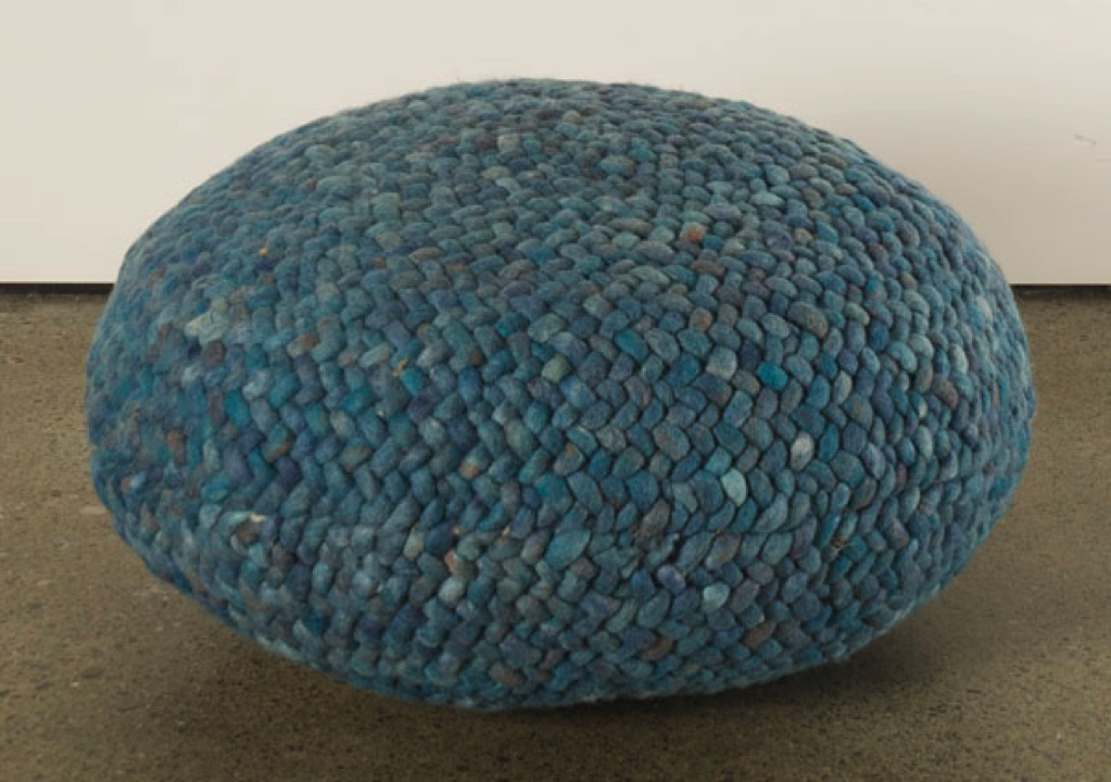 Braided Pouf- Teal
