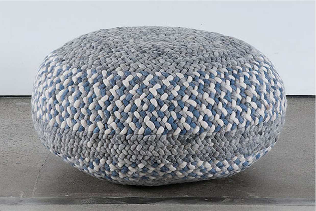 Braided Pouf- Blue/White and Grey Striped