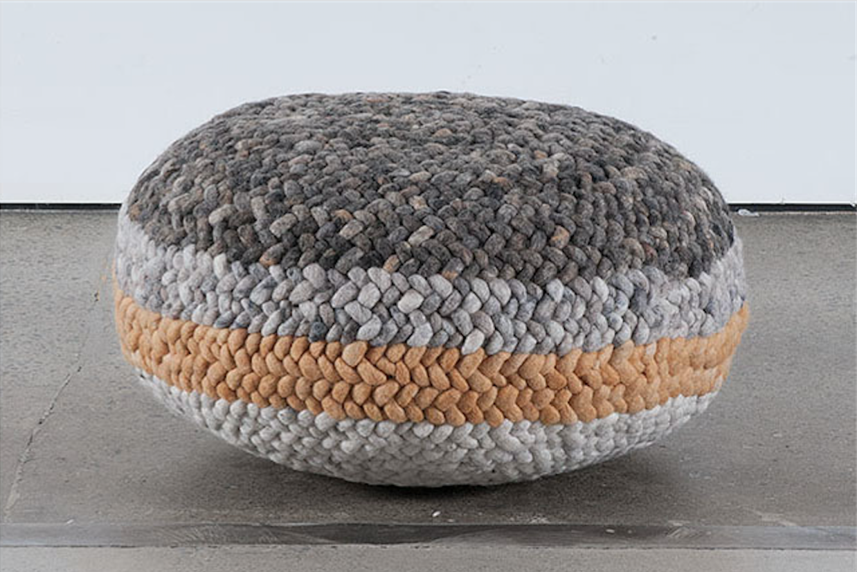 Braided Pouf- Grey and Orange Striped